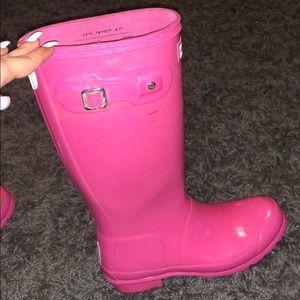Hunter bright pink sparkle rain boots